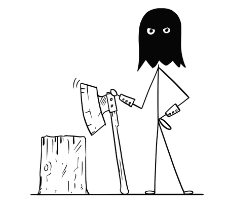 Cartoon stick drawing conceptual illustration of medieval executioner in black hood with execution block and large ax.