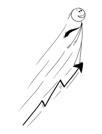 Cartoon stick drawing conceptual illustration of businessman riding on growing or rising graph arrow. Business concept of success.