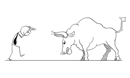Cartoon stick man drawing conceptual illustration of businessman provoking big bull as rising market prices symbol.
