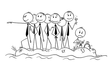 Cartoon stick man drawing conceptual illustration of group of unworried reckless businessman or politicians on old unstable inflatable rubber boat. Illustration