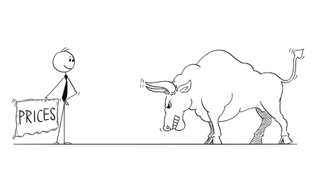 Cartoon stick man drawing conceptual illustration of businessman bullfighter or matador provoking big bull as rising market prices symbol with red cloth or muleta.
