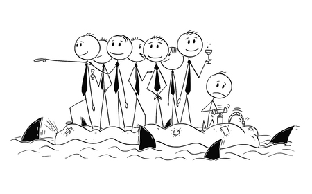Cartoon stick man drawing conceptual illustration of group of unworried reckless businessman or politicians on old unstable inflatable rubber boat. Sharks circle around.