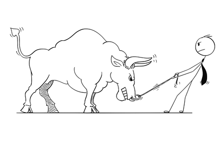 Cartoon stick man drawing conceptual illustration of businessman pulling big bull as rising market prices symbol.