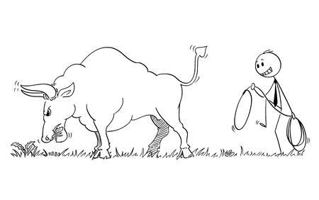 Homme de bâton de dessin animé dessinant une illustration conceptuelle d'un homme d'affaires se faufilant pour attraper un gros taureau en tant que symbole des prix du marché en hausse avec une corde ou un lasso.