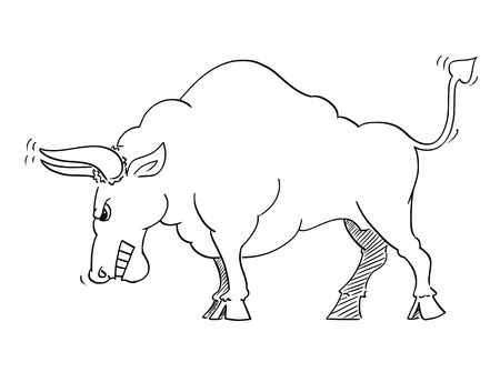 Cartoon drawing conceptual illustration of angry bull as symbols of rising market prices.