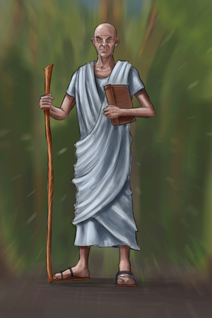 Concept art fantasy digital painting or illustration of old man or priest or philosopher with book and staff wearing white toga.