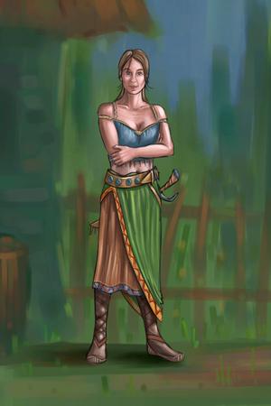 Concept art peinture numérique ou illustration de fantaisie belle jeune femme de village ou compatriote ou villageois. Banque d'images