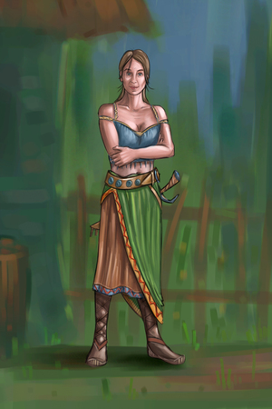 Concept art digital painting or illustration of fantasy beautiful young village woman or countrywoman or villager.