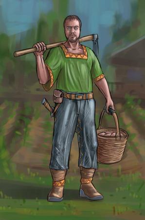Peinture numérique d'art conceptuel ou illustration d'un villageois fantastique, d'un homme de village, d'un compatriote ou d'un agriculteur tenant une houe et un panier.