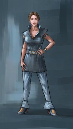Concept art digital painting or illustration of beautiful woman character wearing science fiction futuristic design of clothing.