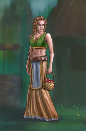 Concept art peinture numérique ou illustration de fantaisie belle jeune femme de village ou compatriote ou villageois portant un petit panier avec des fruits.