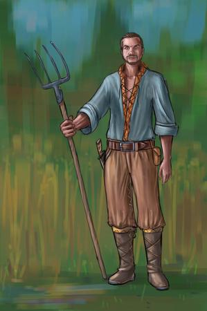 Peinture numérique d'art conceptuel ou illustration d'un villageois fantastique, d'un homme de village, d'un compatriote ou d'un agriculteur tenant une fourche ou une fourchette.