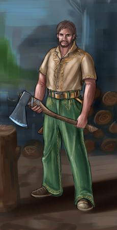 Peinture numérique d'art conceptuel ou illustration d'un villageois fantastique, d'un homme de village, d'un compatriote ou d'un bûcheron avec une hache. Banque d'images