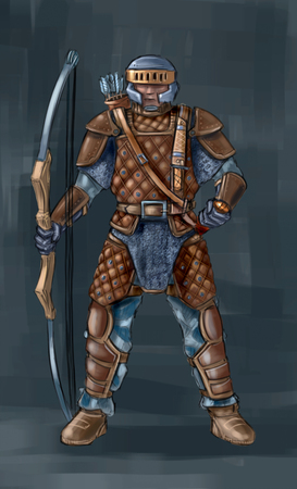 Concept art digital painting or illustration of fantasy archer or bowman with bow.