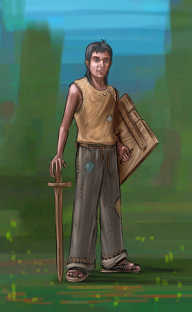 Concept art fantasy digital painting or illustration of small boy with wooden toy sword and shield.