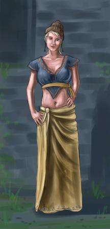 Concept art peinture numérique ou illustration de fantaisie belle jeune femme de village ou compatriote ou villageois.