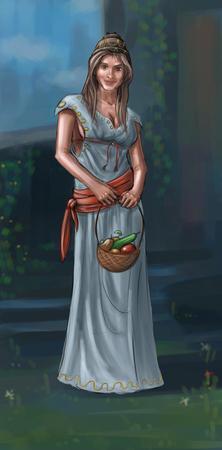 Concept art peinture numérique ou illustration de fantaisie belle jeune femme de village ou compatriote ou villageois portant un petit panier avec des fruits. Banque d'images