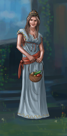 Concept art digital painting or illustration of fantasy beautiful young village woman or countrywoman or villager carrying small basket with fruit.