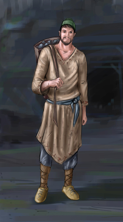 Concept art digital painting or illustration of fantasy villager, village man, miner or countryman with back basket or pack of coal or stones. Stock Photo