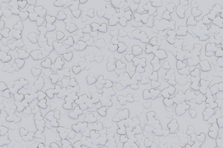 Valentine's Day abstract 3D illustration pattern made from small gray hearts.