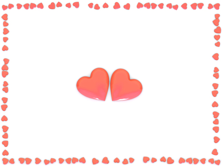 Valentines Day abstract 3D illustration of two big red hearts and frame made from small hearts on white background.