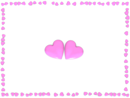 Valentines Day abstract 3D illustration of two big pink or rose hearts and frame made from small hearts on white background. Imagens