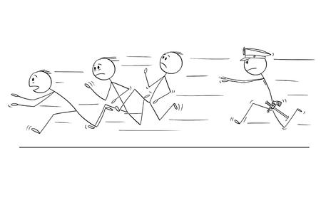 Bâton de dessin animé dessinant une illustration conceptuelle d'un groupe d'hommes ou d'hommes d'affaires ou d'un gang s'enfuyant d'un policier le pourchassant ou l'attrapant. Concept de crime organisé.