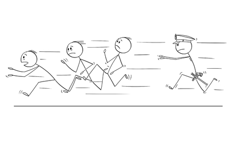 Cartoon stick drawing conceptual illustration of group of men or businessmen or gang running from policeman chasing or catching him.Concept of organized crime.