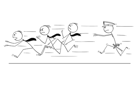 Cartoon stick drawing conceptual illustration of group of businessmen or gang running from policeman chasing or catching him. Concept of organized crime. Illustration