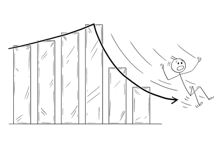Cartoon stick drawing conceptual illustration of businessman slipping or sliding down the falling financial or business chart arrow. Ilustração