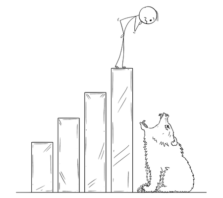 Cartoon stick man drawing conceptual illustration of businessman standing on raising financial chart ending by open mouth of bear. Metaphor of bear market and market crisis.