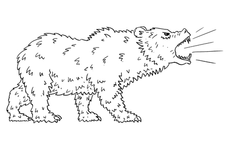 Cartoon drawing conceptual illustration of roaring bear as symbols of falling market prices.