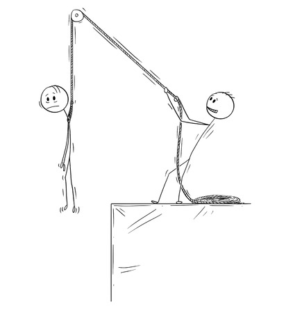 Cartoon stick drawing conceptual illustration of man or businessman holding another man on rope above the edge of abyss or chasm.