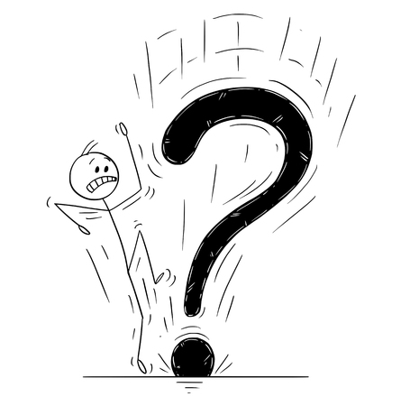 Cartoon stick drawing conceptual illustration of man or businessman startled or frightened by big falling question mark.