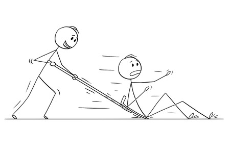 Cartoon stick drawing conceptual illustration of man or businessman with snow pusher or shovel pushing another man or competitor. Vektorové ilustrace
