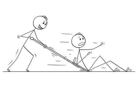 Palo de dibujos animados dibujo ilustración conceptual de hombre o empresario con empujador de nieve o pala empujando a otro hombre o competidor. Ilustración de vector