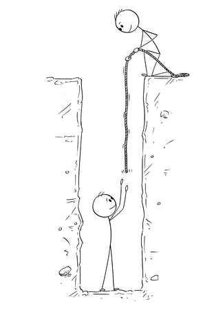 Cartoon stick drawing conceptual illustration of man or businessman who fall and is trapped in deep hole and saved by rope by another man or friend . Illustration