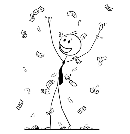 Cartoon stick drawing conceptual illustration of businessman celebrating and collecting money or banknotes rain falling from sky. Metaphor of financial success.