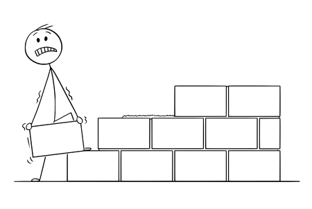 Cartoon stick drawing conceptual illustration of mason or bricklayer building a wall from bricks or stone blocks. Ilustração