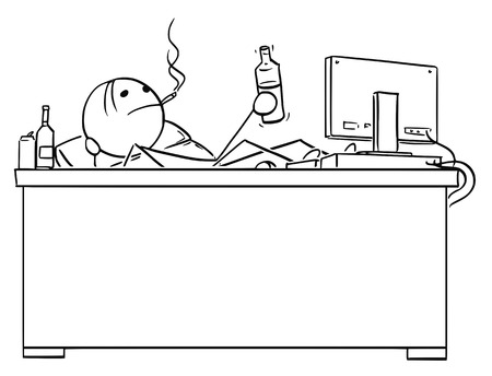 Cartoon stick drawing conceptual illustration of businessman, manager or programmer sitting behind his office desk with legs on table and smoking cigarette and drinking alcohol from bottle. Concept of slacking in work.