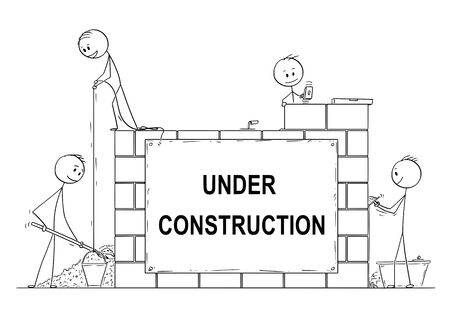 Cartoon stick drawing conceptual illustration of group of masons or bricklayers building a wall or house from bricks or stone blocks. There is under construction sign. Usable for website.