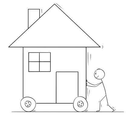 Cartoon stick drawing conceptual illustration of man pushing or moving family house on wheels.