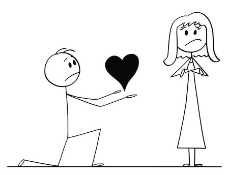 Cartoon stick drawing conceptual illustration of man kneeling and giving big heart to his beloved woman of love, but she rejects his proposal.