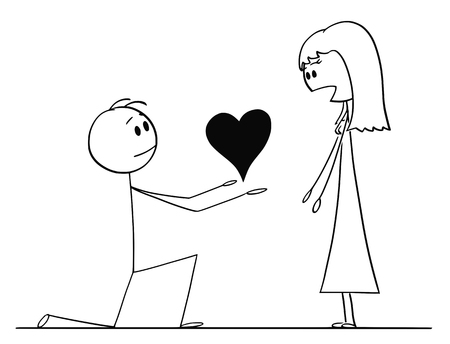 Cartoon stick drawing conceptual illustration of man kneeling and giving big heart to his surprised beloved woman of love.