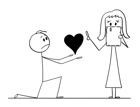Cartoon stick drawing conceptual illustration of man kneeling and giving big heart to his beloved woman of love, but she is rejecting or ignoring his proposal because she is networking on tablet.
