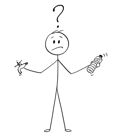 Bâton de bande dessinée dessinant une illustration conceptuelle de l'homme tenant une bouteille en plastique et un robinet ou un robinet et décidant entre l'eau en bouteille ou l'eau du robinet.