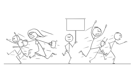 Cartoon stick figure drawing illustration of group or crowd of people running in panic away from man walking with empty sign. There is place for your text.