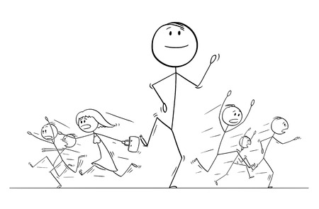 Cartoon stick figure drawing illustration of group or crowd of people running in panic away from giant walking man. Metaphor of ego, egoism and confidence.