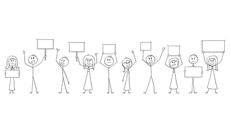 Cartoon stick figure isolated drawing or illustration of group or crowd of protesters protesting with empty signs ready for your text.
