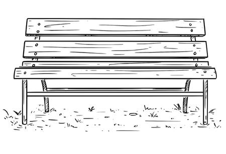 Cartoon Rysunek ilustracja pustej ławki w parku lub siedzenia wykonanego z metalu i drewna.